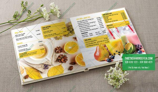 Thiết kế menu mở phẳng - Nắng Cafe