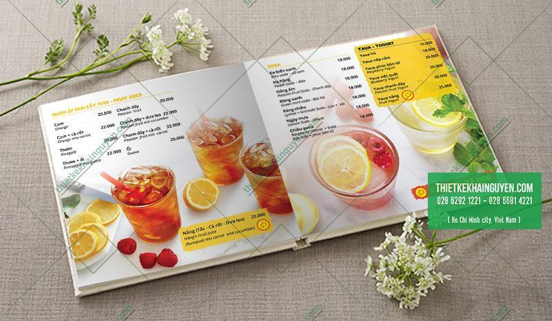 Mẫu menu vuông cho quán cafe