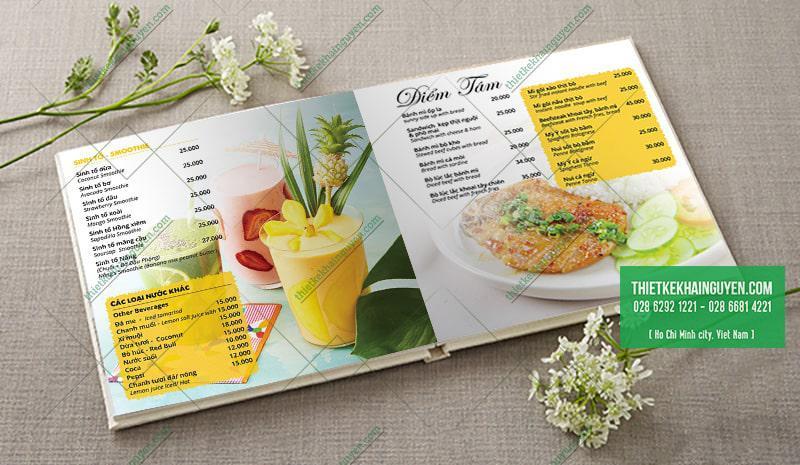 Thiết kế menu đẹp cho quán cafe với màu nắng rực rõ