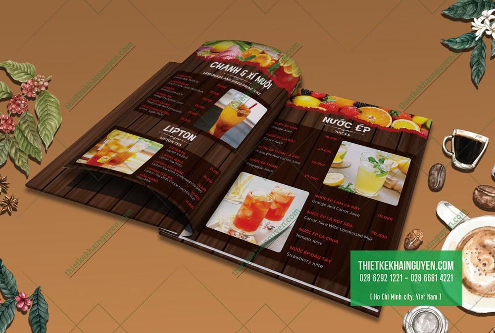 Thiết kế menu giả gỗ ấn tượng và thu hút