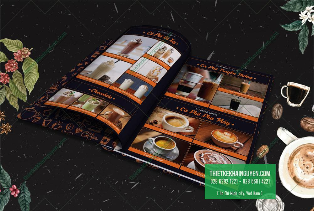 Menu the book coffee - kiểu thiết kế menu cafe truyền thống
