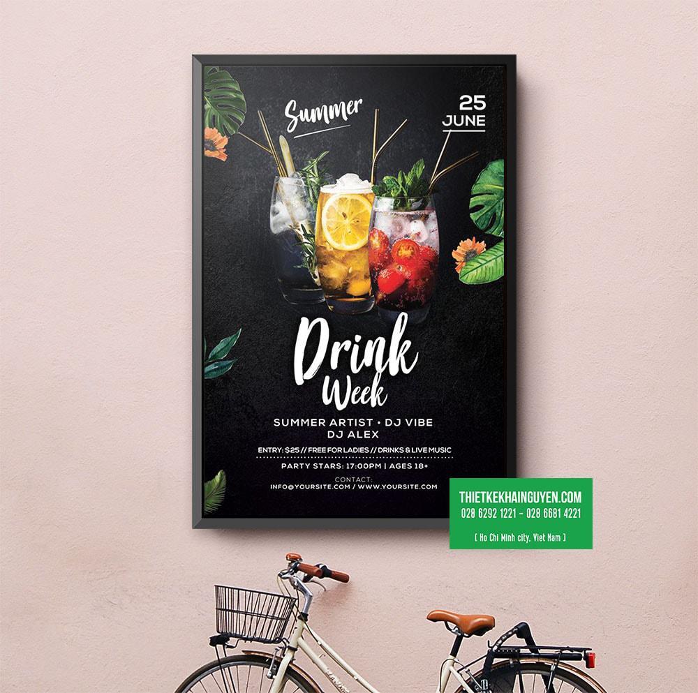 Summer Drink - thiết kế poster ngày hè sôi động