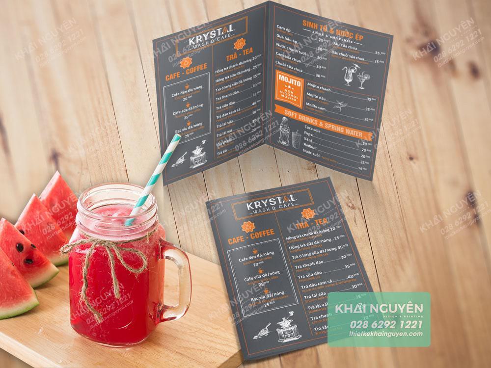 Thiết kế menu quán cafe đơn giản hiện đại