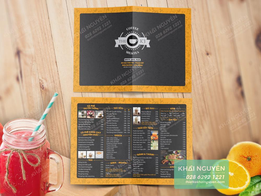 Thiết kế menu dễ thương hơn 2 màu vàng đen