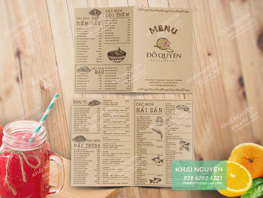 Nhà hàng Đỗ Quyên, thiết kế menu nền KRAFT cổ điển