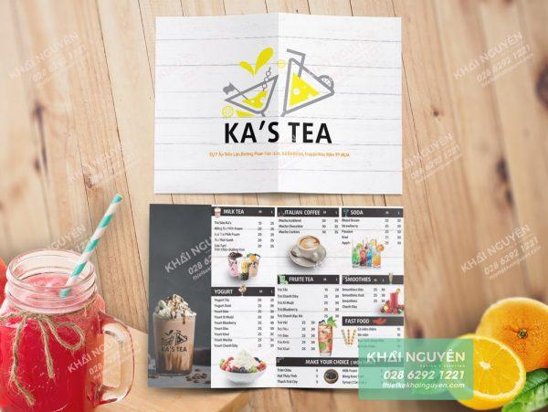 Một mẫu thiết kế menu A3 gấp đôi quán trà sữa kiêm cafe