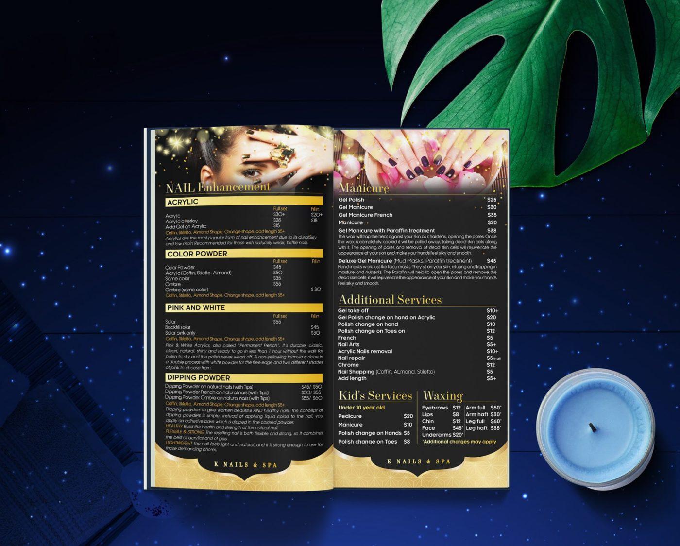 Giới thiệu mẫu thiết kế menu spa đặc sắc