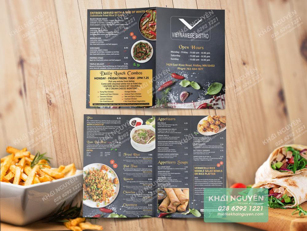 Mẫu thực đơn đẹp cho nhà hàng ở dạng A3 gấp đôi