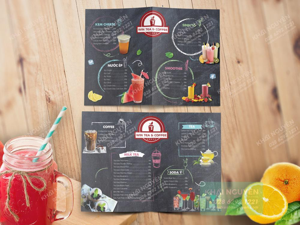 Win coffee menu A3 gấp đôi