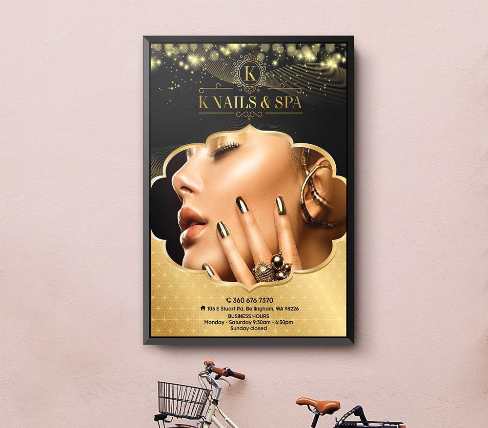 Poster treo tường cho tiệm Nails & Spa - Knails