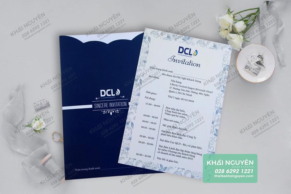 Thiệp mời dự hội nghị khách hàng của công ty DCL