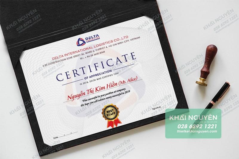 Certificate Delta DLH với thiết kế ấn tượng