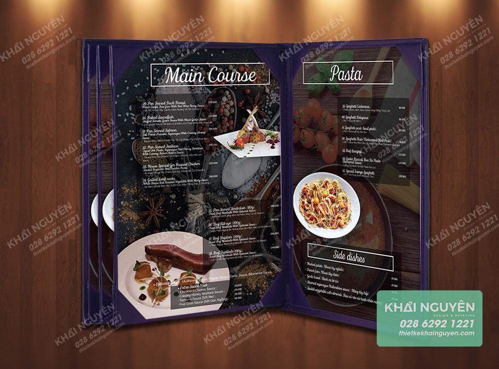Một mẫu menu bìa da kiểu nẹp góc thay giá