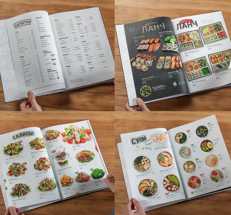 Chụp hình menu chung 1 góc để  trình bày thực đơn nhà hàng dễ dàng hơn