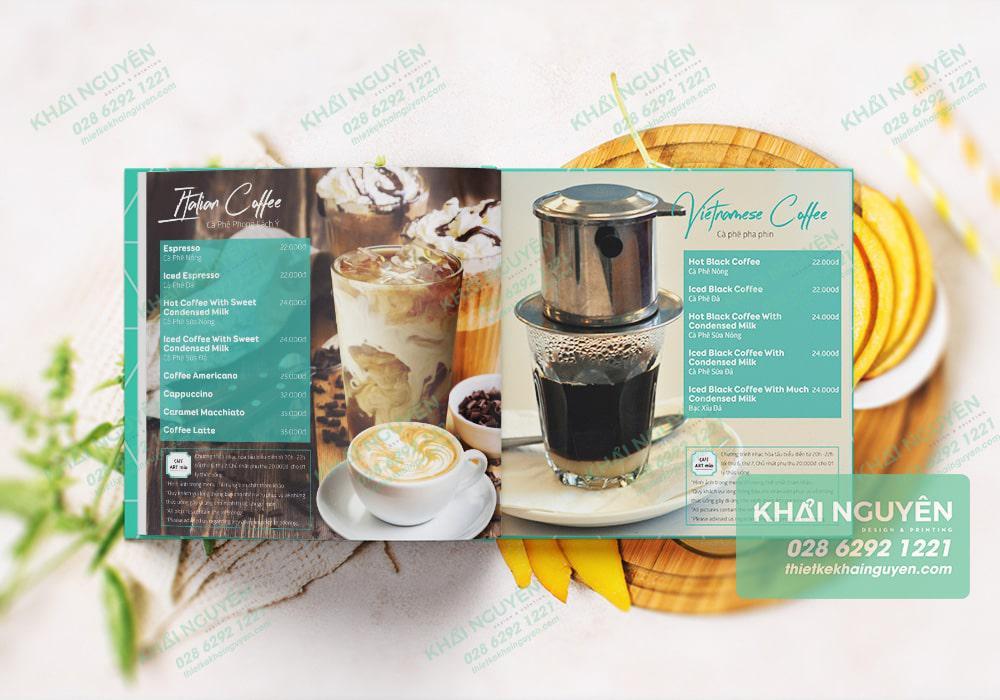 Trang cà phê trong thực đơn