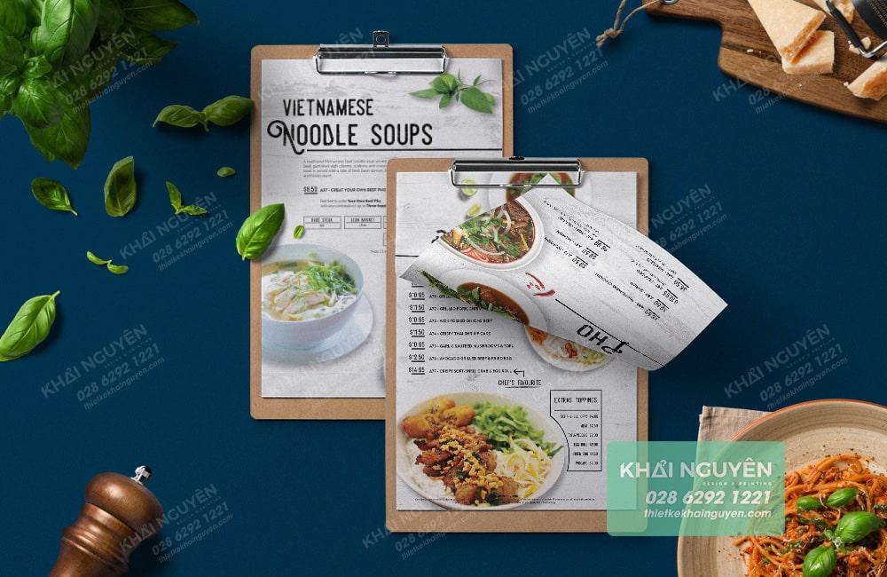 Mẫu thiết kế & in ấn menu sáng đơn giản cho nhà hàng tại Việt Nam