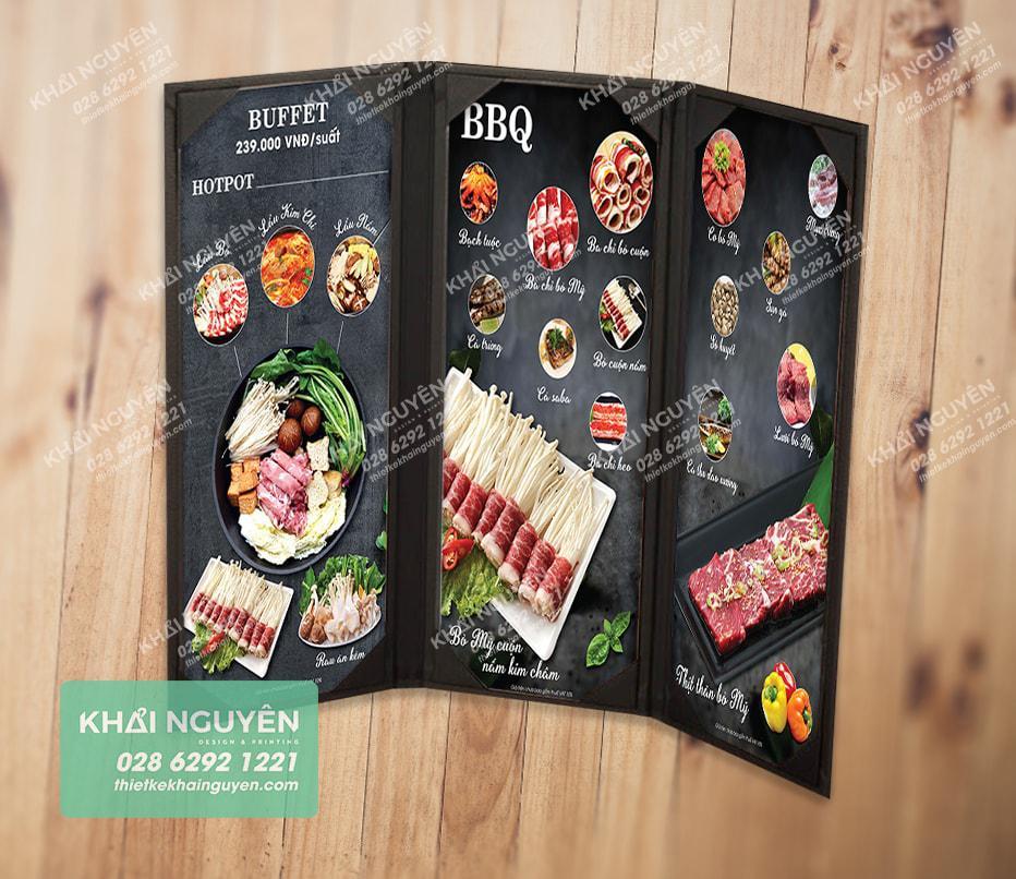Bìa menu cover gấp 3 cho nhà hàng