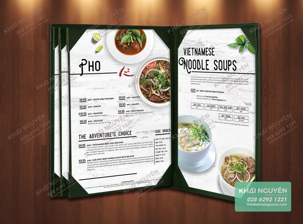 Thiết kế menu phở được in lên bìa cover cao cấp