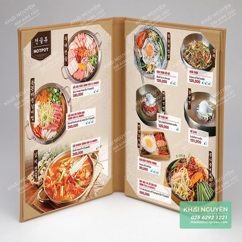 Thiết kế menu quán nướng lẩu Hàn Quốc