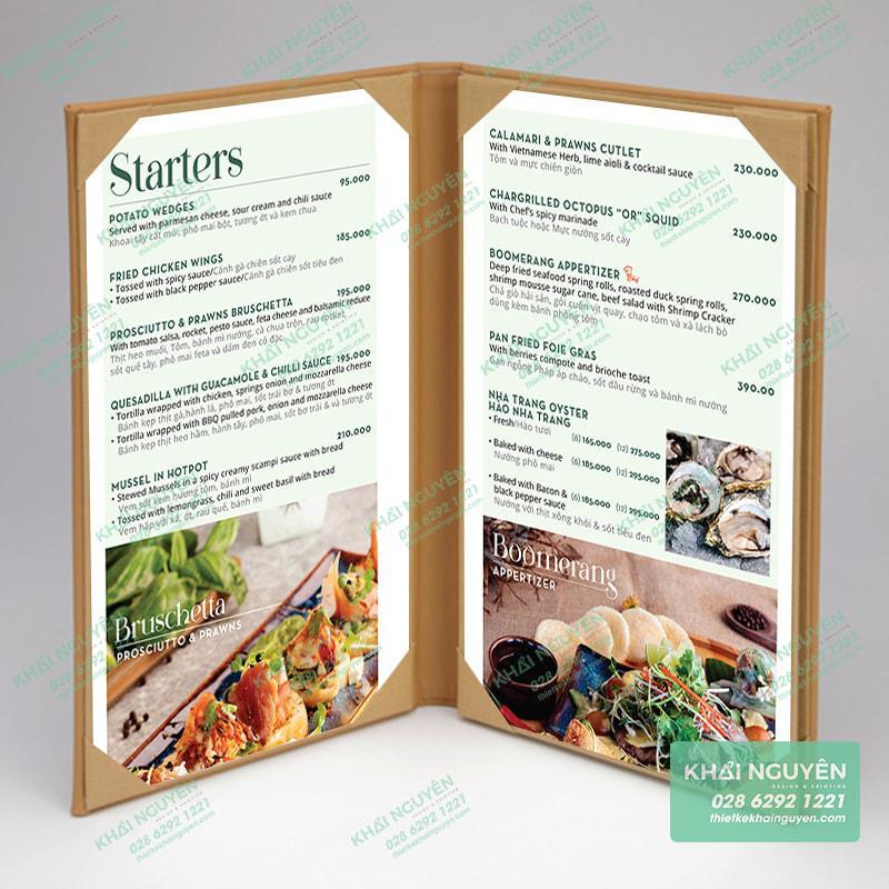 Mẫu menu gấp đôi cho nhà hàng
