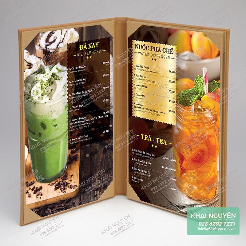 Kiểu làm bìa menu cover dạng gấp đôi cho tiệm cà phê