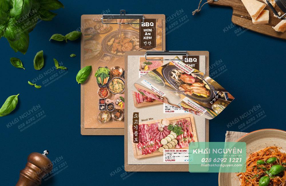 Thiết kế thực đơn ấn tượng với menu Hàn
