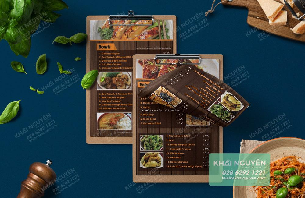 Phối cảnh menu cho quán nhậu