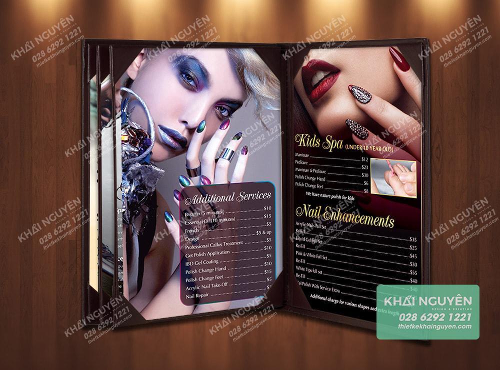 Bìa da cover tiệm Nails dạng cuốn tiện dụng