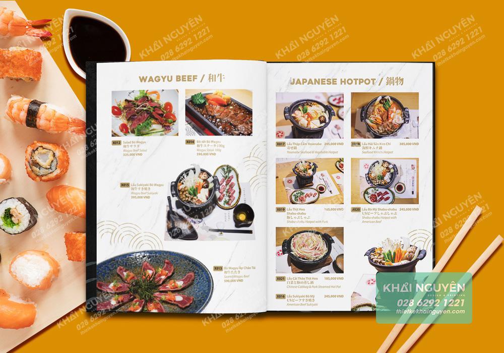 Phần menu đặc biệt trong thực đơn nhà hàng Nhật Saiko