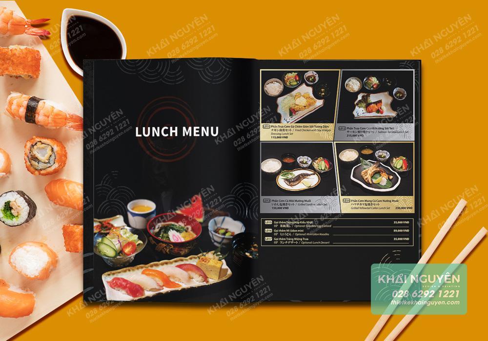 Phần lunch menu trong cuốn thực đơn nhà hàng Nhật  Saiko
