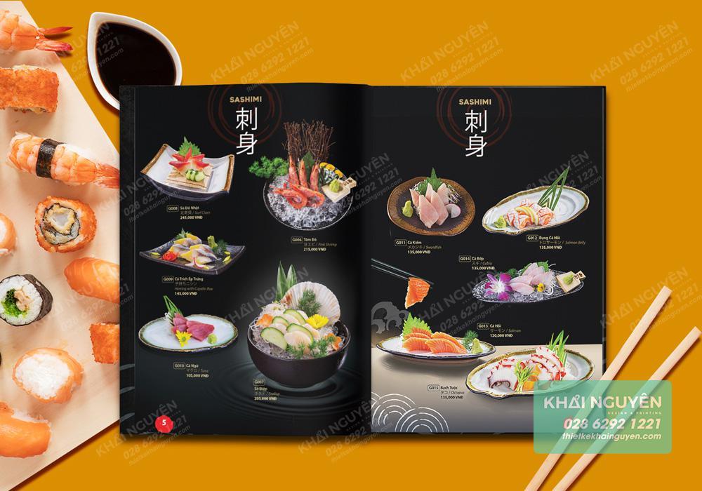 Sashimi trong hấp dẫn hơn trên nền đen