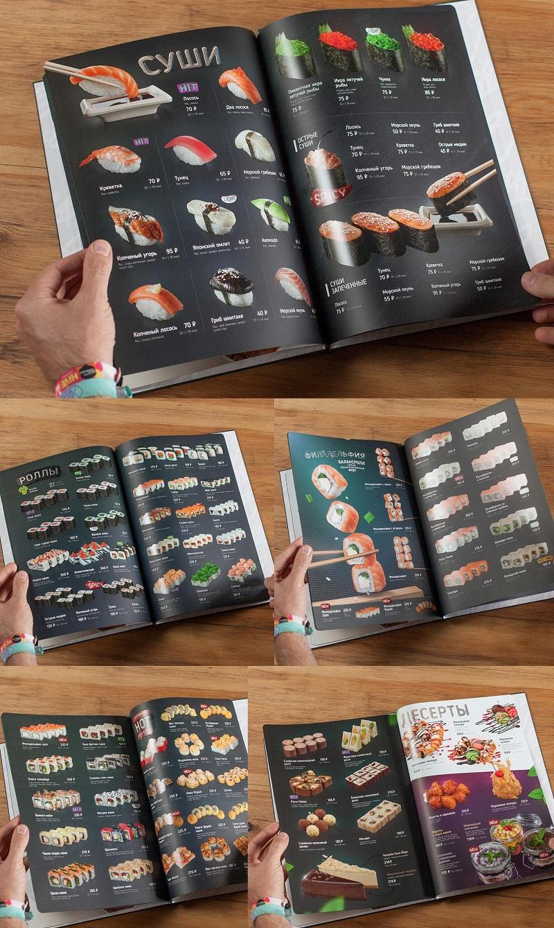 Thiết kế menu cho nhà hàng Sushi