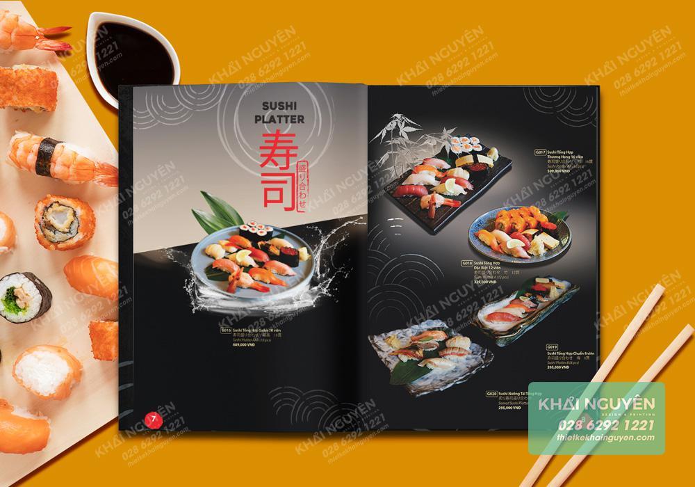 Thiết kế menu nhà hàng kiểu Nhật đặc sắc
