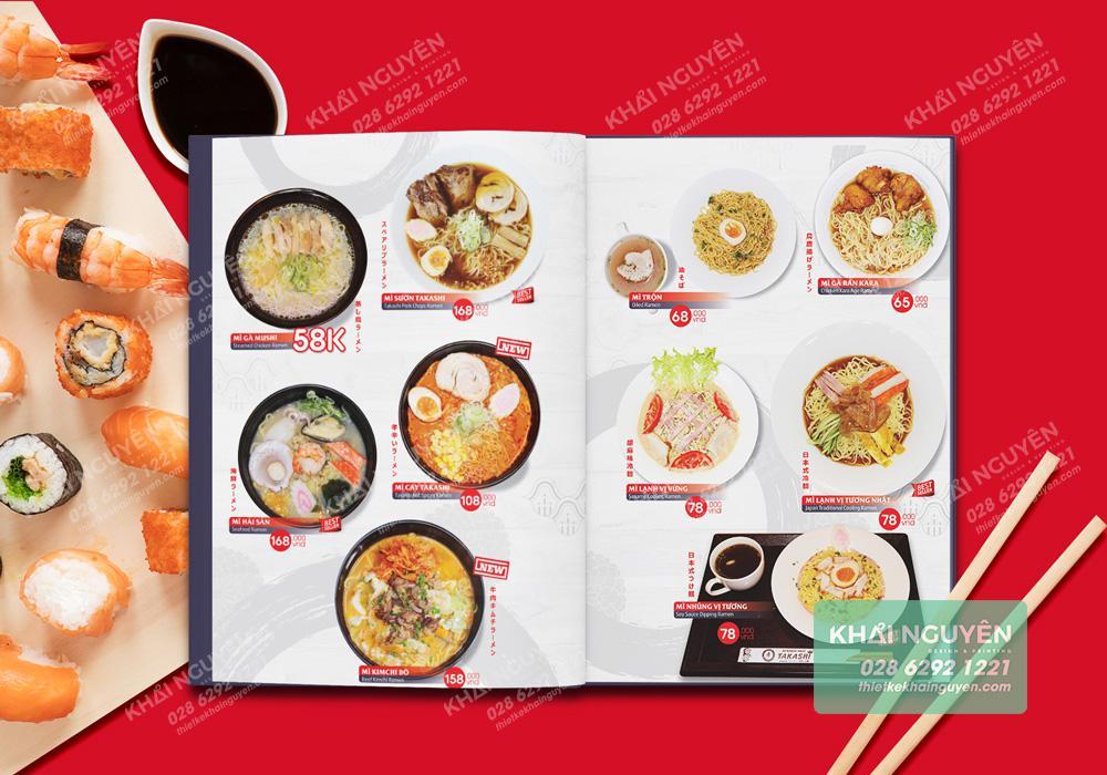 Thực đơn kiểu Nhật - Nhà hàng Takashi
