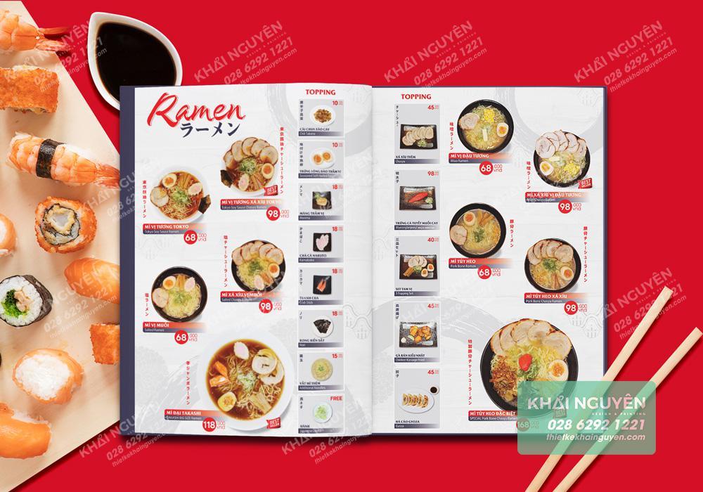 Thiết kế menu nhà hàng Takashi