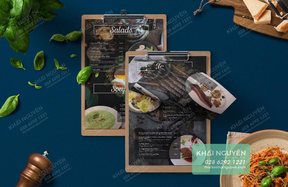 Mẫu mockup menu cho nhà hàng Pháp