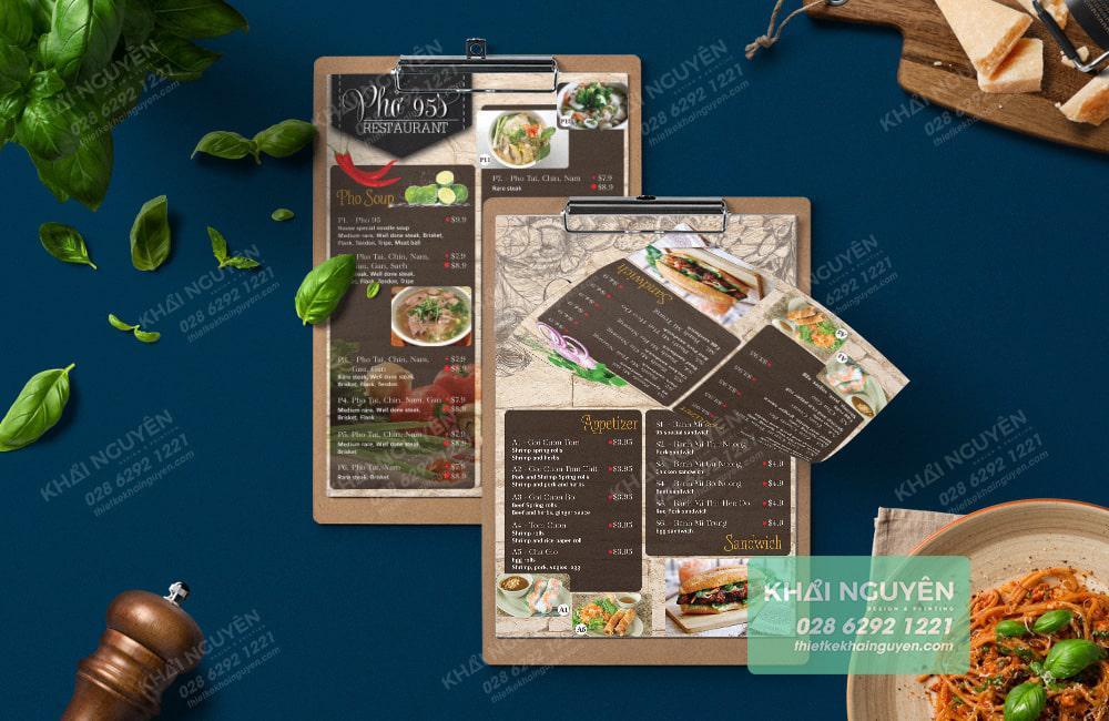 Nhà hàng Phở tại nước ngoài cũng yêu thích kiểu menu one page này