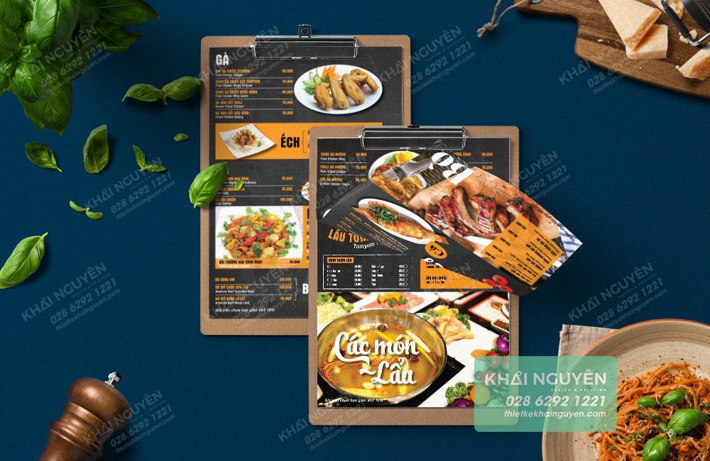 Mẫu mockup menu thể hiện menu nhà hàng Crab Food