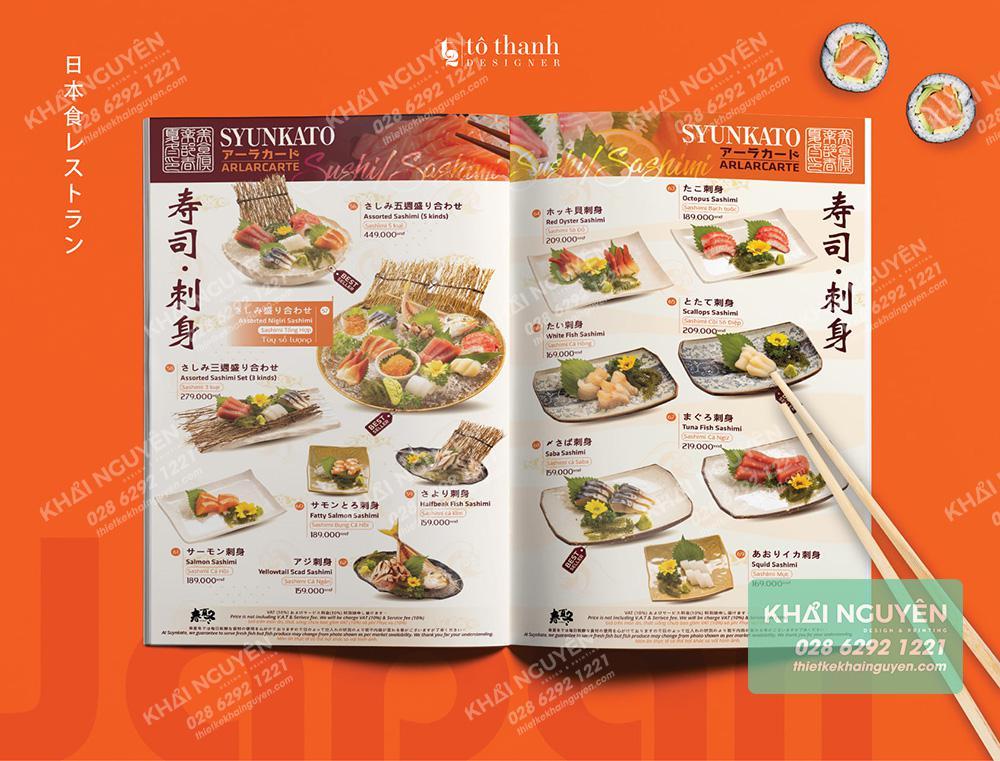 Thiết kế Menu nhà hàng Nhật đẹp từ trong ra ngoài