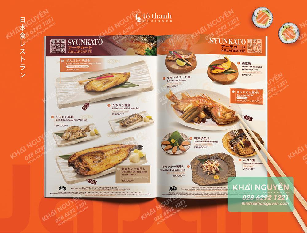 Syunkato Restaurant - mẫu thiết kế menu nhà hàng Nhật
