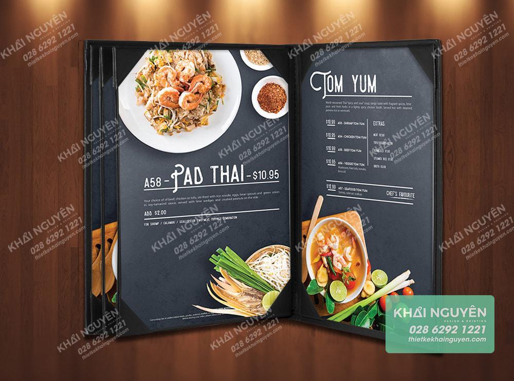 Menu nhà hàng Thái sử dụng bìa holder dạng cuốn