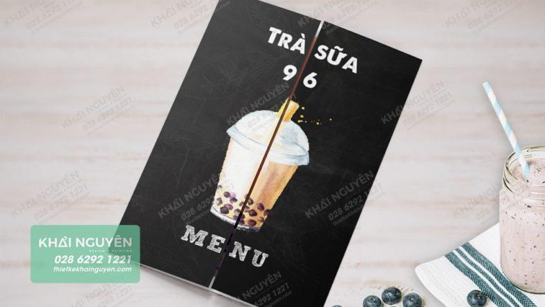 Khi gấp menu lại, sẽ xuất hiện 1 lý trà sữa hoàn chỉnh - trà sữa 96