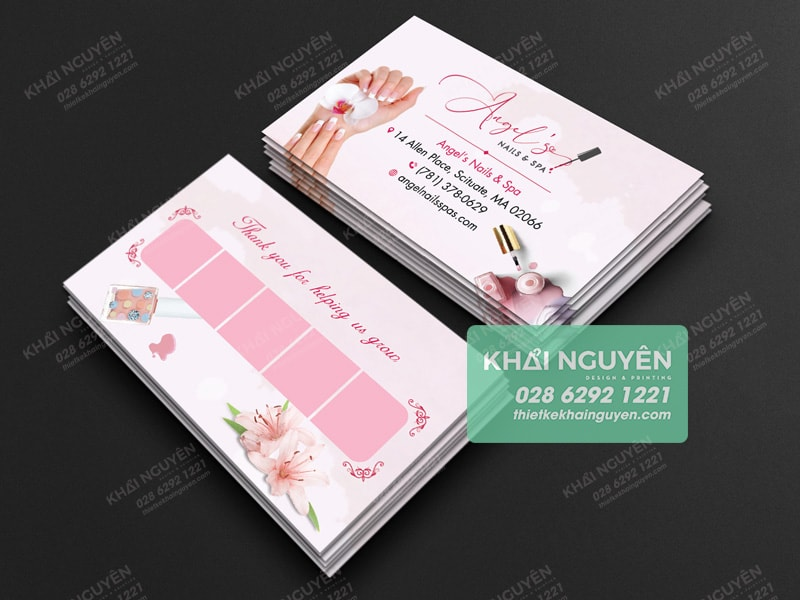 Mẫu card Nail màu hồng xinh quá xinh