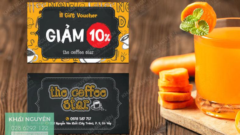 Thiết kế voucher đẹp với màu sắc ấn tượng - gift card the coffee Oter
