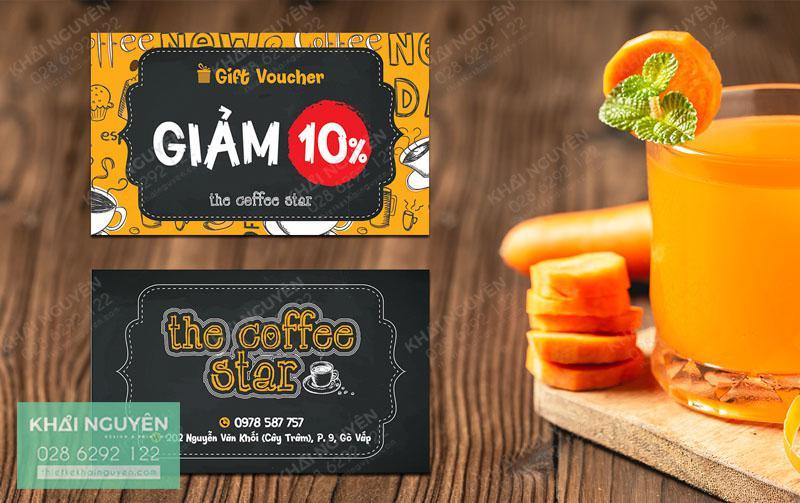 Thiết kế voucher đẹp với màu sắc ấn tượng - gift card THE COFFEE STAR