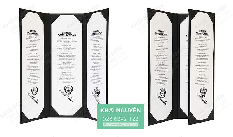 Kiểu in menu da cover gấp 3 với 4 mặt thiết kế