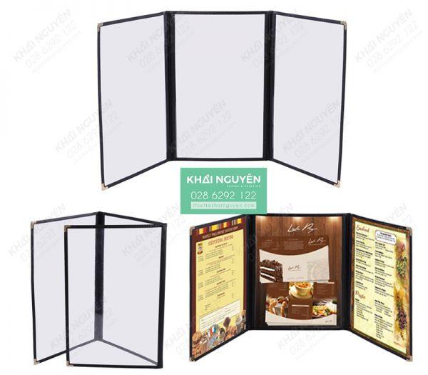 Mẫu menu gấp 3 - Menu kiếng nhựa PVC trong suốt
