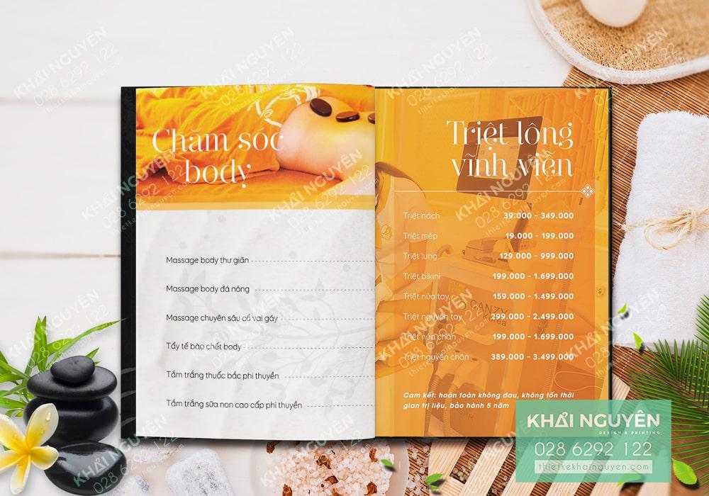 Thiết kế bảng giá dịch vụ Spa - chăm sóc Body