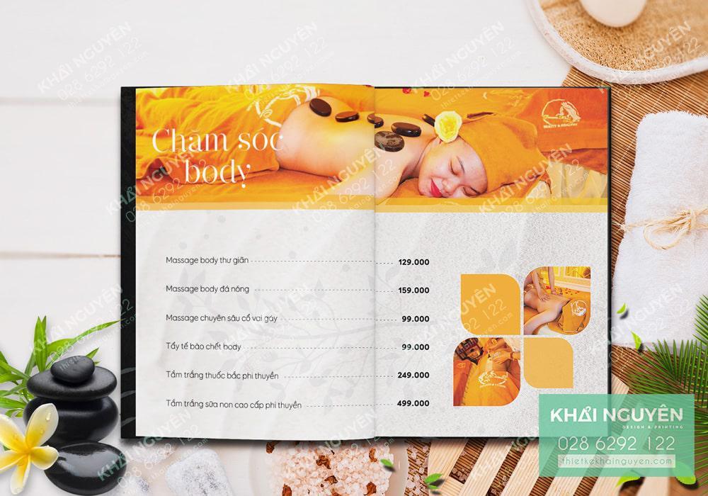 Mẫu thiết kế menu Spa đẹp với sắc vàng mật ong