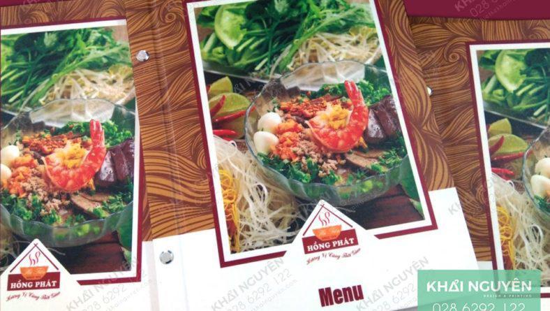 Mẫu làm menu cho nhà hàng Hồng Phát với chất liệu bìa cứng